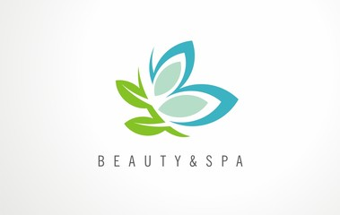 Creative logo idea for beauty salon or spa. Design concept label for beauty, cosmetics  or wellness studio. Sign, icon, vector graphic for natural products.