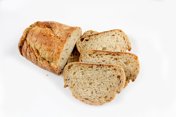 slices of bread on white background