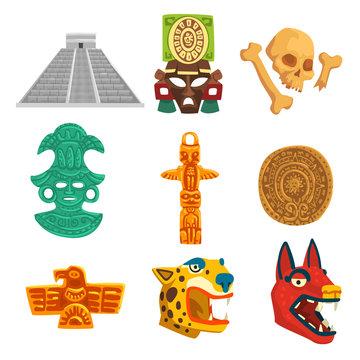 Maya civilization ethnic symbols set, American tribal culture elements vector Illustration on a white background