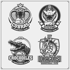 Set of basketball emblems, badges, logos and labels with cobra, crocodile and dragon.