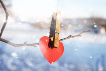 Red heart on a branch with a clothespin. Valentine day concept.