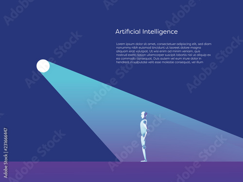 Artificial Intelligence Vector Concept With Ai Robot Standing In
