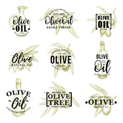 Olive oil icons with leaves and bottle