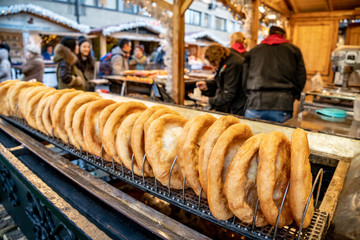 Budapest Christmas Market traditional street food called Langos doughnut
