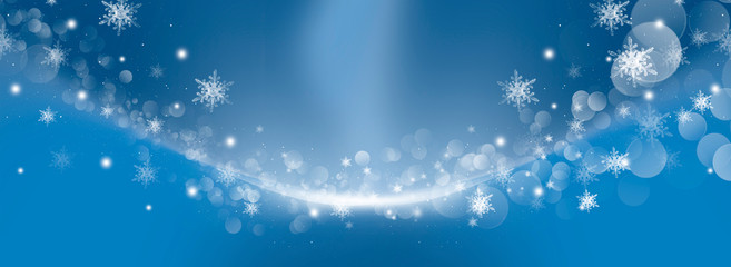 Christmas background with fir branches, lights, snowflakes, bokeh.