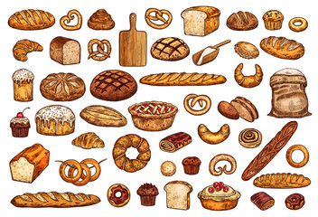 Pastry shop products bread and bakery