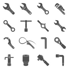 Black Icons - Sixteen different types of wrenches