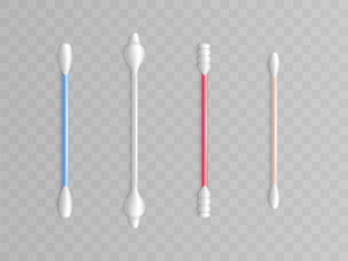 Vector collection of cotton buds - different forms and types for cleanliness. Realistic toiletries, bathroom object. Healthcare, makeup accessory. Swab on stick, plastic rod. Cosmetic tools.