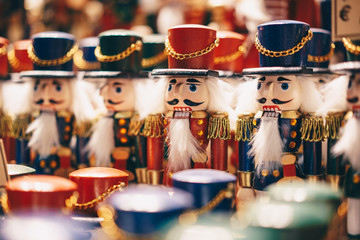 Handcrafted wood toy Nutcrackers sold in Salzburg Christmas Market