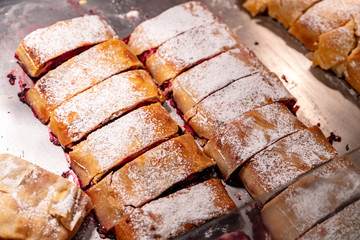 Traditional sour cherry pie street food sold at Salzburg Christmas Market
