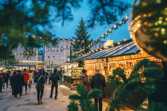 Salzburg Christmas Market seen trough a Christmas tree branches