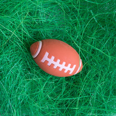 Flat lay of American football ball toy on grass abstract.