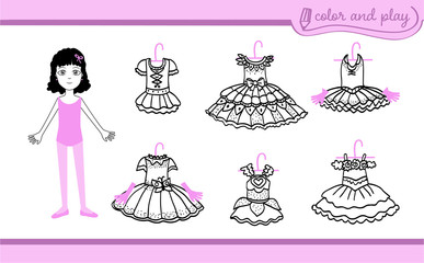 Little ballet dancer girl. Dress up paper doll in cartoon style with ballet tutus. Color, cut and play. Black, white and pink vector illustration for children coloring book