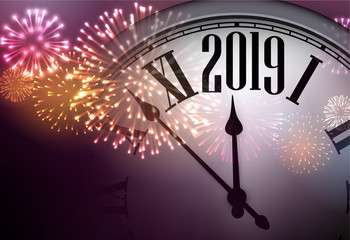 2019 New Year background with clock and fireworks.