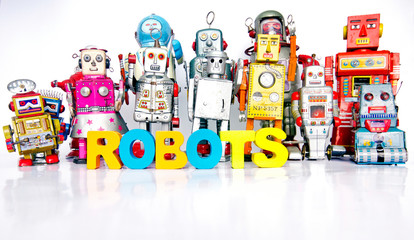 Big Family of robots with thw words ROBOTS