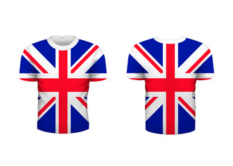 Realistic sport t-shirt with Great Britain flag from front and back isolated on white