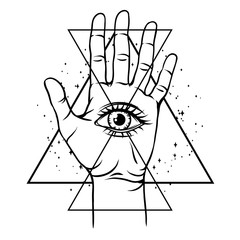 Open hand with all seeing eye symbol.