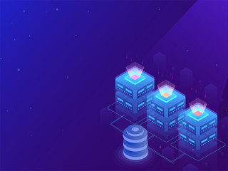 3D illustration of glowing local servers connected to database on blue background for data center concept.
