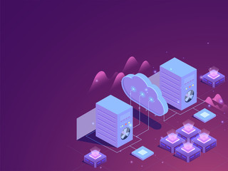 Data management isometric design, illustration of web servers connected to cloud server on glossy purple background.