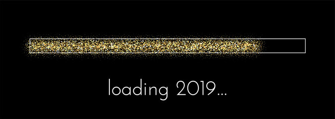 Loading 2019 New Year creative festive poster.