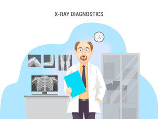 X-rays, computer and cabinet. Caucasian male doctor