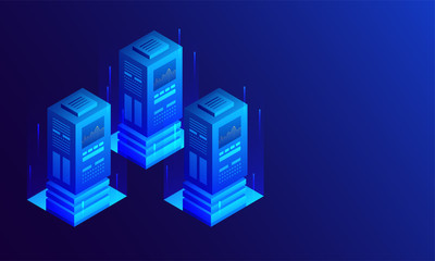 3D illustration of three big data server with digital rays on glossy blue background, isometric design for data center.