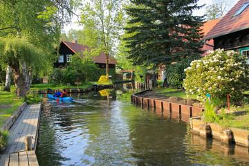 Paddeln im Spreewald, Lehde, Lehder Fließ, Kayak, Germany