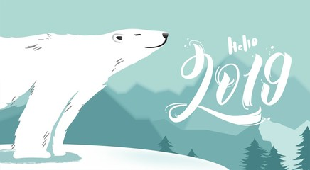 Hello 2019 illustration. Merry Christmas and Happy New Year vector background with cute bear and typographic design. Winter cartoon illustration