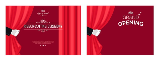Set of grand opening posters with white gloves and red curtains. Vector illustration