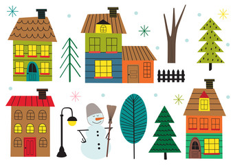 set of isolated houses and tree in winter time - vector illustration, eps