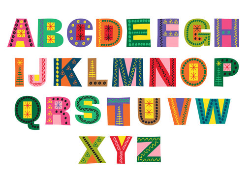 decorative colorful winter alphabet  - vector illustration, eps