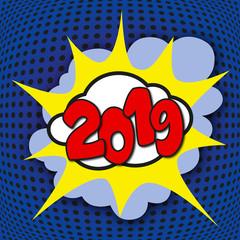 Carte de vœux 2019 façon pop art, avec un graphisme symbolisant l'énergie et la motivation pour commencer la nouvelle année.