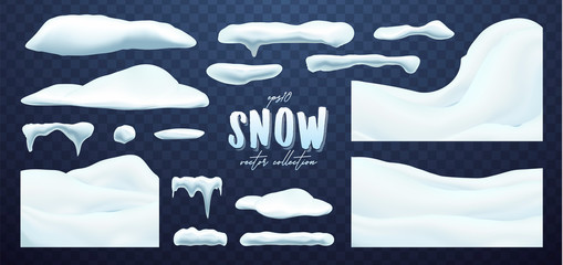 Vector collection of snow caps, pile, icicles, isolated on background, transparent, ice, snowball and snowdrift. 3d Winter decorations, Christmas, snow texture, white elements, holiday design. Wall mural