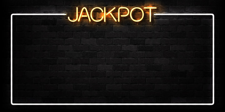 Vector realistic isolated neon sign of Jackpot frame logo for decoration and covering on the wall background. Concept of slot machine and casino.