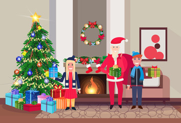 merry christmas happy new year snata claus with children in living room pine tree fireplace home interior decoration winter holiday concept flat horizontal vector illustration
