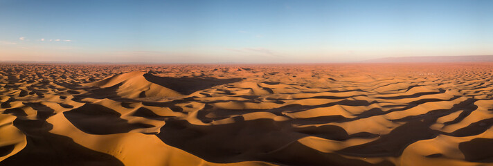 Canvas Prints Desert Aerial panorama in Sahara desert at sunrise