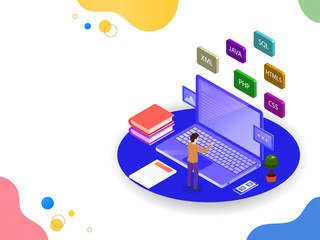 Software development or programming concept based isometric design, analyst analysis data on laptop or workspace of a web developer.