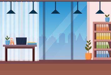 modern office interior workplace desk flat horizontal vector illustration