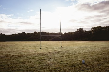 Rugby ball and goal post in the field