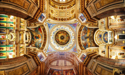 Saint Petersburg, Russia - August 15, 2018: Detail of interior of Saint Isaac's Cathedral or Isaakievskiy Sobor