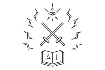 Masonic emblem with eye swords and book.
