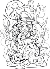 cartoon cute witch sitting on a pumpkin, funny illustration, coloring book
