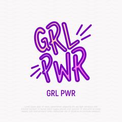 Quote: girl power thin line icon. Sticker in thin line icon style. Modern vector illustration.