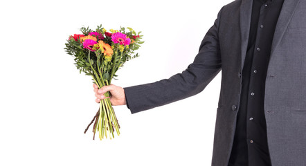 Man is giving flowers