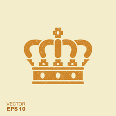 Crown flat vector icon with scuffed effect