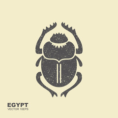 Vector Scarab Beetle. Ancient Egypt. Flat icon