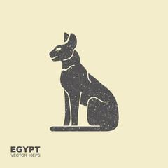 Black Egyptian cat. Bastet, ancient Egypt goddess, vector Illustration