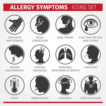 Signs and symptoms of allergies. Vector icons.