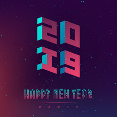 Happy New Year 2019 party. Futuristic design posters with abstract 3d elements and gradients. Applicable for covers, placards, music posters, dj flyers and banner designs. Welcome to future.