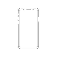 Fototapeta Smartphone outline vector icon of mobile smart phone screen or modern android cellphone. obraz